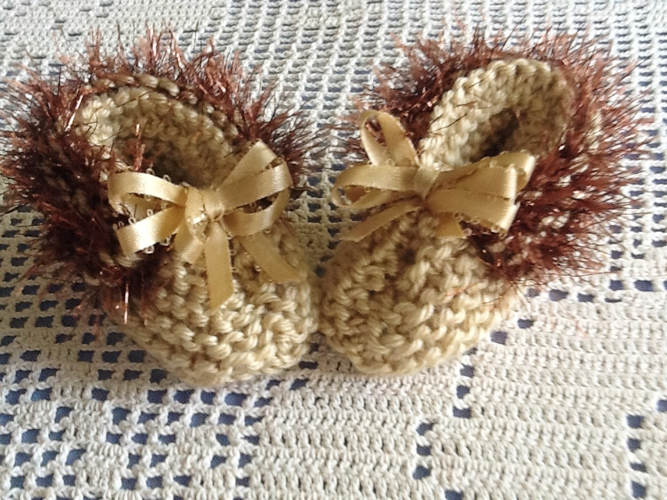 Sparkling Brown Trimmed Delicate Handmade Tan Baby Booties